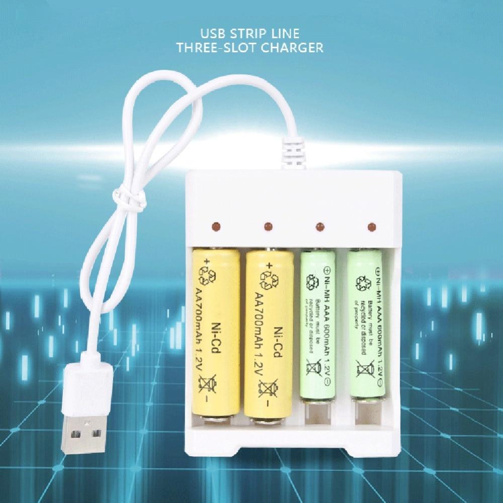 Blanco Blanco Cargador de bater/ía para bater/ías AAA AA 4 Puertos Cargador de bater/ía con Enchufe USB Accesorios para Herramientas el/éctricas universales