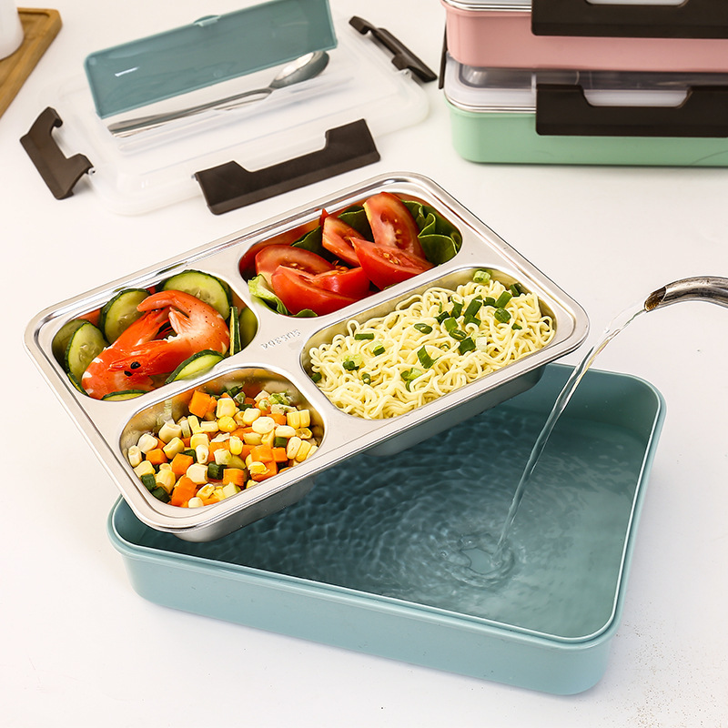 2019 New Style 304 Stainless Steel Insulated Heating Container Large Square Lunch Box Students Seperated Lunch Box