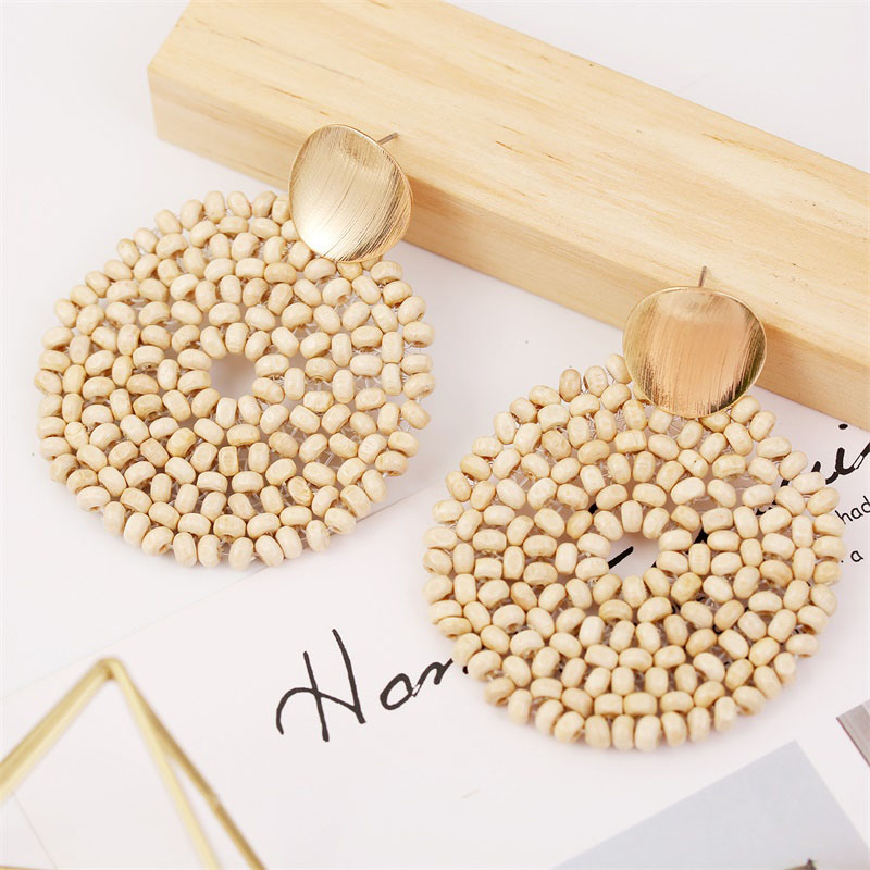 19 Fashion Boho Round Square Geometric Wooden Drop Earrings For Women Bohemian Vintage Wood Beaded Dangle Earring Jewelry Gift 15