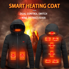 Coat Heated-Vest Electric-Heating-Jacket Thermal-Clothing Skiing Fishing Winter Hooded