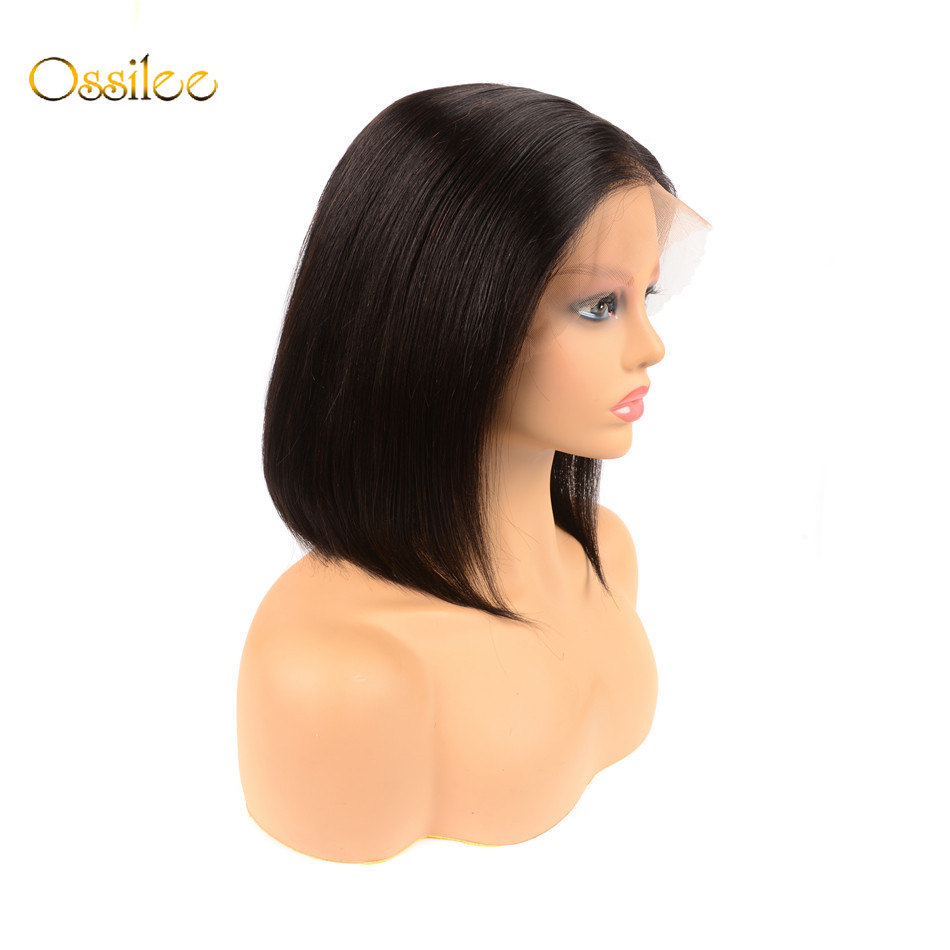 Ossilee 13x6 Bob Lace Front Wigs Deep Part Human Hair Bob Wigs Remy Pre Plucked Peruvian Straight Wigs For Women 180% Density