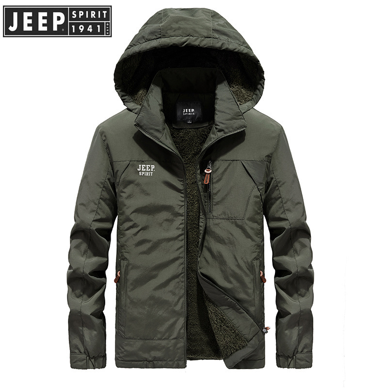 JEEP SPIRIT New Brand Winter Jacket Men Casual Hooded Collar Wool Liner Thick Warm Windbreaker mens jackets and coats L-5XL