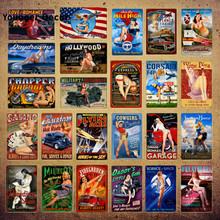 Hot Rods Pin Up Girls Metal Tin Signs Air Plane Motor Garage Plaque Dogs With Sexy Lady Tin Poster Vintage Home Decor YI-207(Китай)