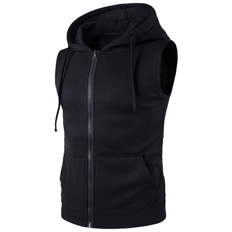 Vest Men Fashion Solid Sleeveless Hoodies Cardigans Jacket Autumn Spring Zipper Pockets Mens Vest Casual  Waistcoat Tops
