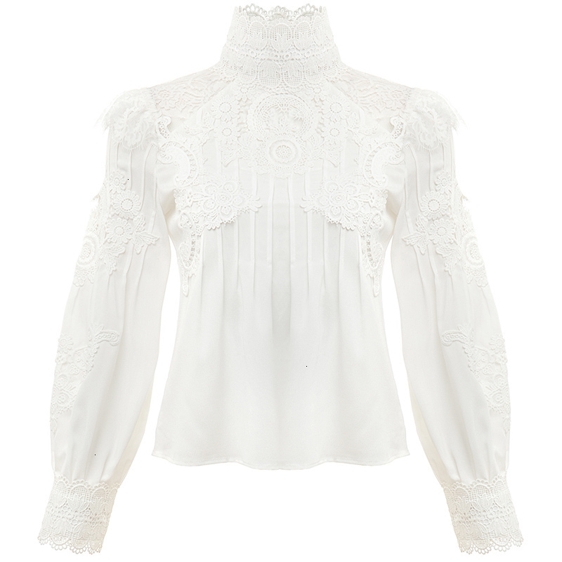 TWOTWINSTYLE Casual Patchwork Lace Hollow Out Women/'s Shirt Stand Collar Puff Long Sleeve Ruched Slim Blouse Female Clothing New