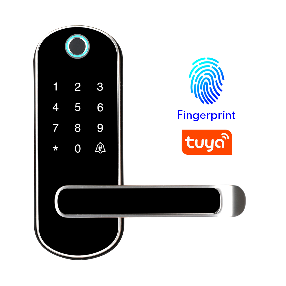 Tuya app fingerprint smart lock, wifi App waterproof button pincode Keypad electronic door lock, biometric remote control lock title=
