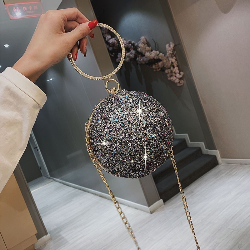 Women Handbags Clutchs Purses-Day Crossbdoy-Bag Round-Chains Sequins Designer-Handle title=