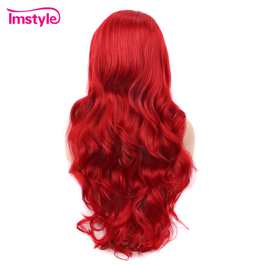 Imstyle Red Wig Synthetic Lace Front Wig For Women Long Wavy Lace Wig Cosplay Wig Heat Resistant Fiber Glueless Natural Hairline