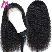 Wig Brazilian Human-Hair-Wigs Curly Lace-Front Pre-Plucked Black Women for with 13x4