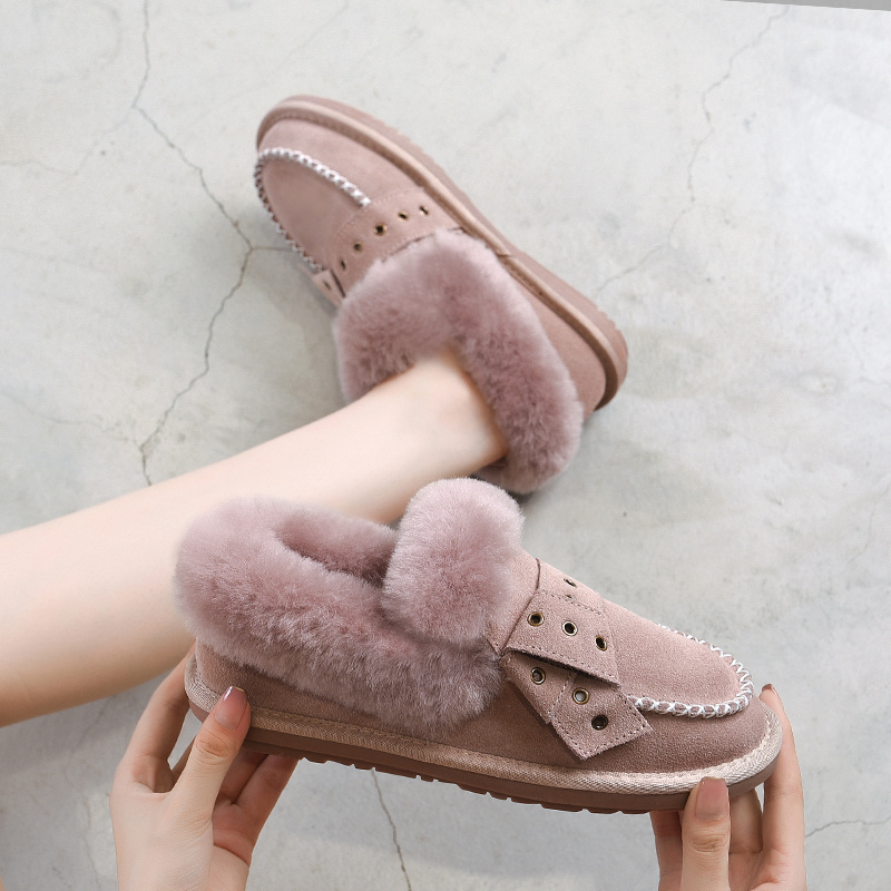 2019 Winter Luxury Woman Loafers Brand Designers Slip On Short Plush Flip Flops Fur Ladies Flat title=