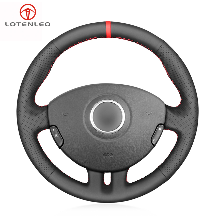 LQTENLEO Black Genuine Leather Steering Wheel Cover For Renault Clio 3 2005 2006 2007 2008 2009 2010 2011 2012 2013
