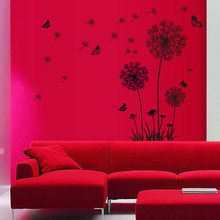 Bedroom Background Butterflies Black Dandelion PVC Wall Sticker Double Side Window Mildew Proof Home Decoration Art Waterproof(China)