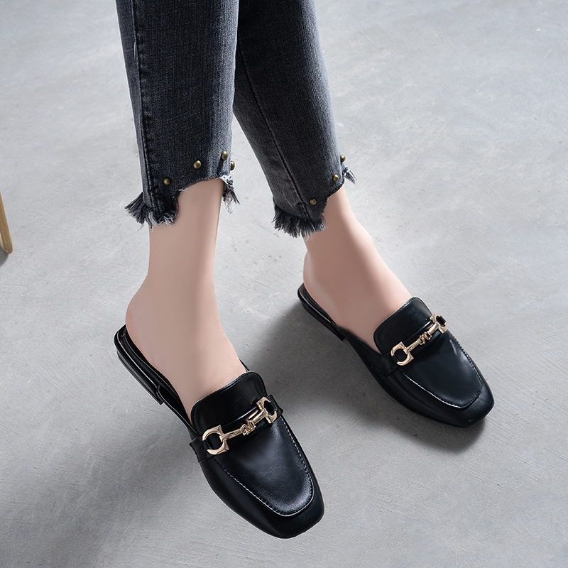 YEINSHAARS Leather Square Toe Slippers Shoes Heels Metal Decorationg Women Slides New Summer Woman Mules Shoes Ladies Slippers