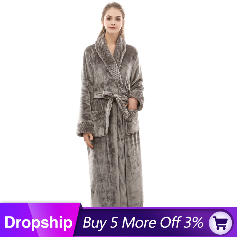 MUQGEW Women Bathrobe Coat Night-Dress Lengthened Winter Coralline Long-Sleeved Cotton title=