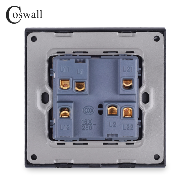 COSWALL Simple Style PC Panel 1 Gang 3 Way Intermediate On / Off Light Switch Wall Rocker Crossover Switch AC 12-250V 16A