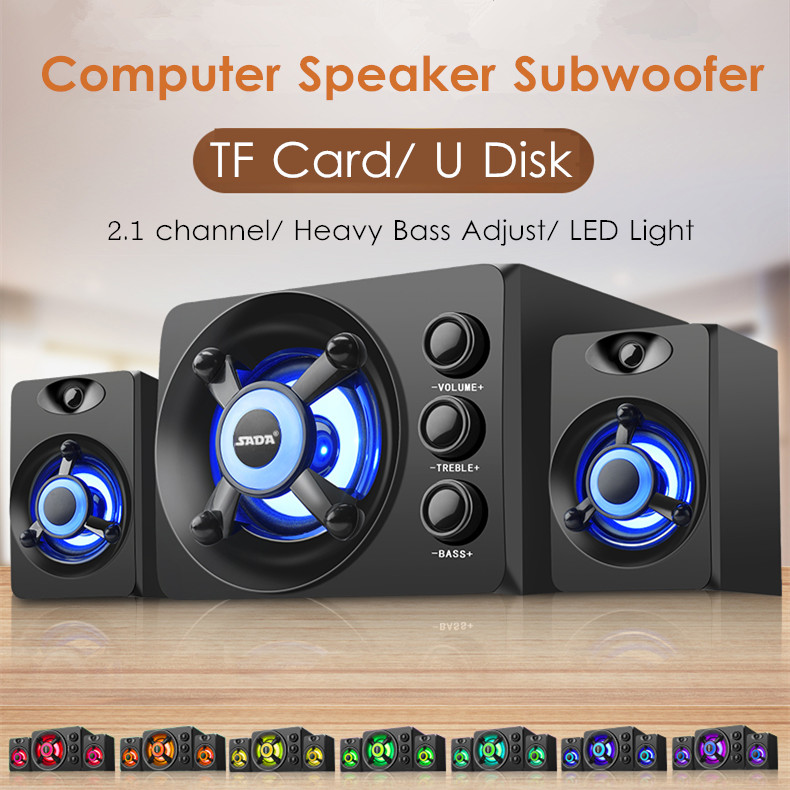Computer-Speaker Subwoofer Led-Light Laptop Usb-Power-Supply Cellphone Desktop Heavy-Bass title=