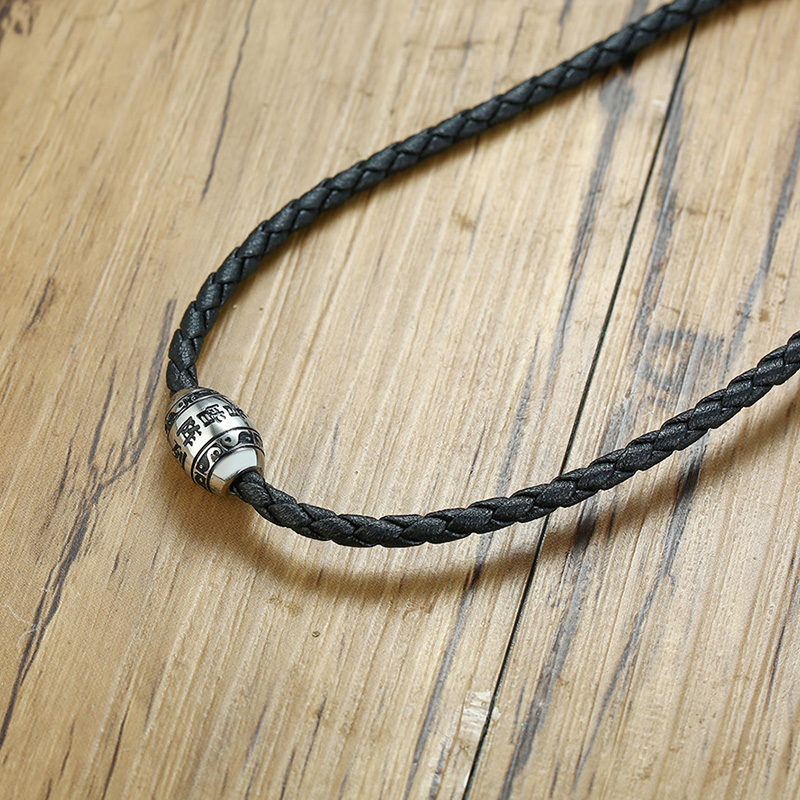 Men-s-Necklace-9-words-Buddha-Mantra-Lucky-Beads-Stainless-Steel-Charm-Pendant-with-Black-Braided (3)