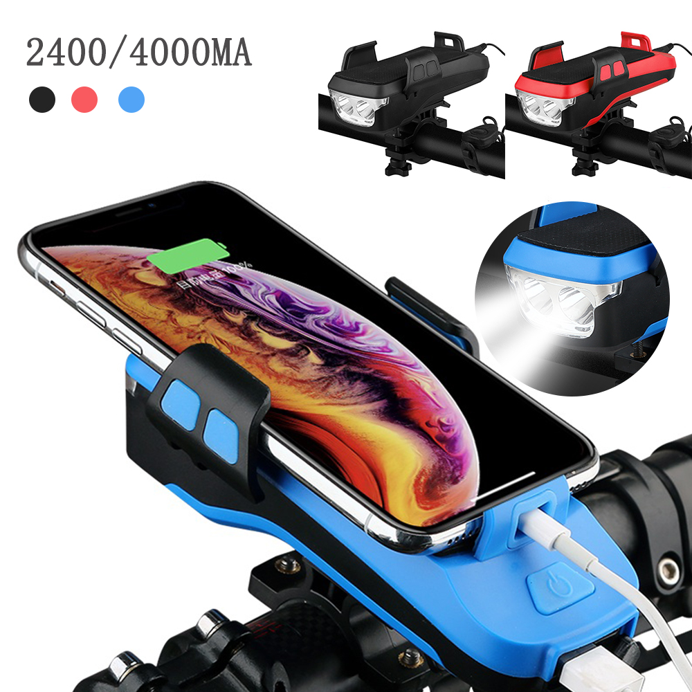 Tool - 4 In 1 Bike Light Phone Holder Handlebar Stand with Power Bank Bicycle Lamp Bicycle Set USB Rechargeable Rear Light
