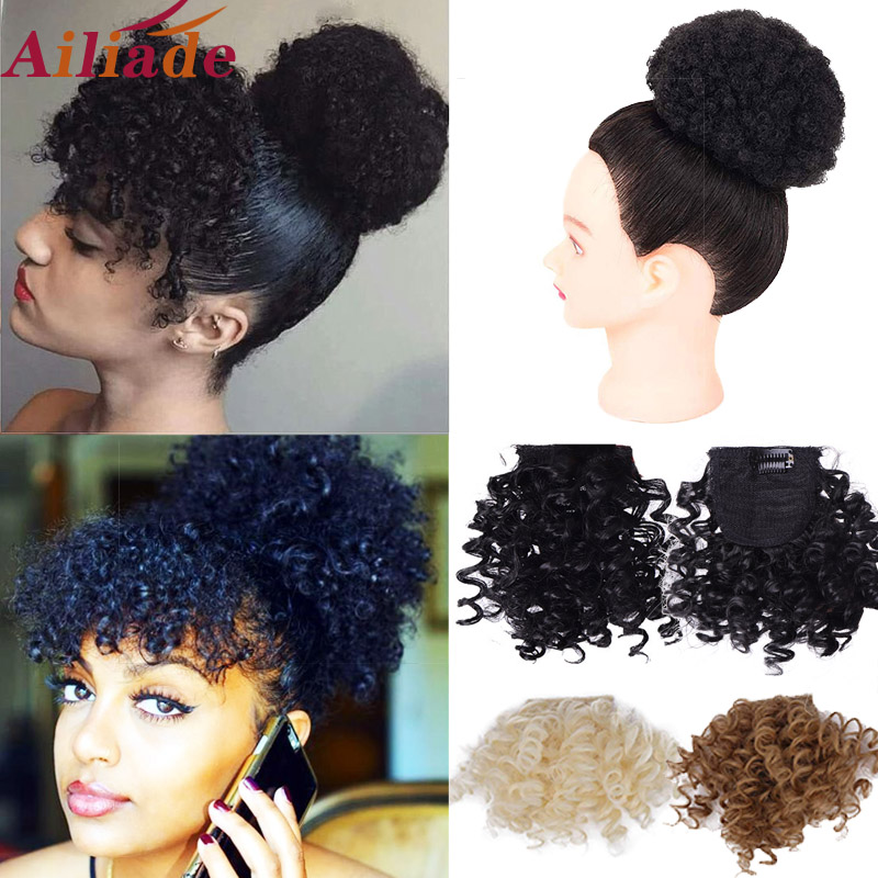 AILIADE  Afro Kinky Curly Fringe Clips In Bangs Heat Resistan Fiber Synthetic Hairpieces Natural Black Brown Hair Extensions