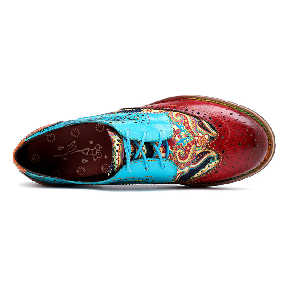 2020 New Spring Casual Women Brogues Shoes Handmade Genuine Leather Women Flats Oxfords Shoes Retro Carved Lace Up  Lady Oxfords (12)