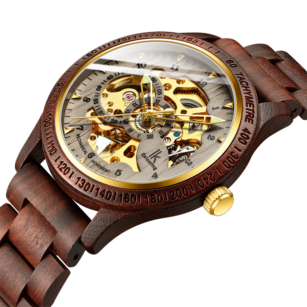 Wristwatch Mechanical-Watch Skeleton Transparent Automatic Wooden-Strap Classic Sport title=