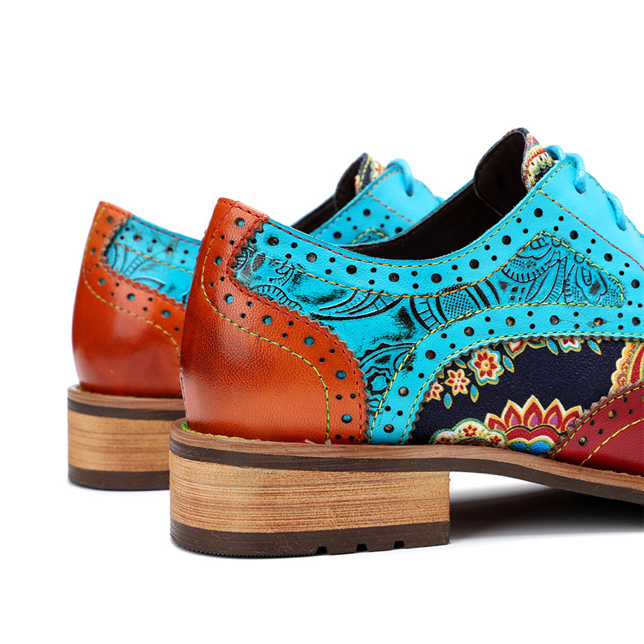2020 New Spring Casual Women Brogues Shoes Handmade Genuine Leather Women Flats Oxfords Shoes Retro Carved Lace Up  Lady Oxfords (11)