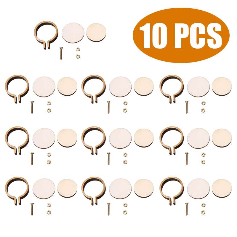 MMLUCK 10pcs//Set Mini Round Cross Stitch Wooden Frame,Cute Embroidery Hoop Ring for Hand Crafts