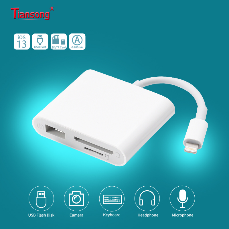 OTG iPhone Aux Adapter Lighting/8 pin to SD TF Card Camera Reader & USB 2 in 1 for iPad Air iPhone 6 7 8 11 Pro Support iOS13 title=