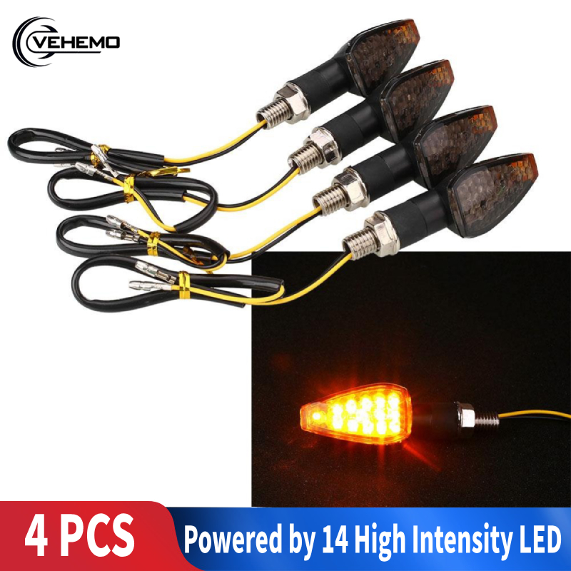Light Motorbike-Lamp Turn-Signal-Indicators Amber Universal Kawasaki Super-Bright 4pcs title=