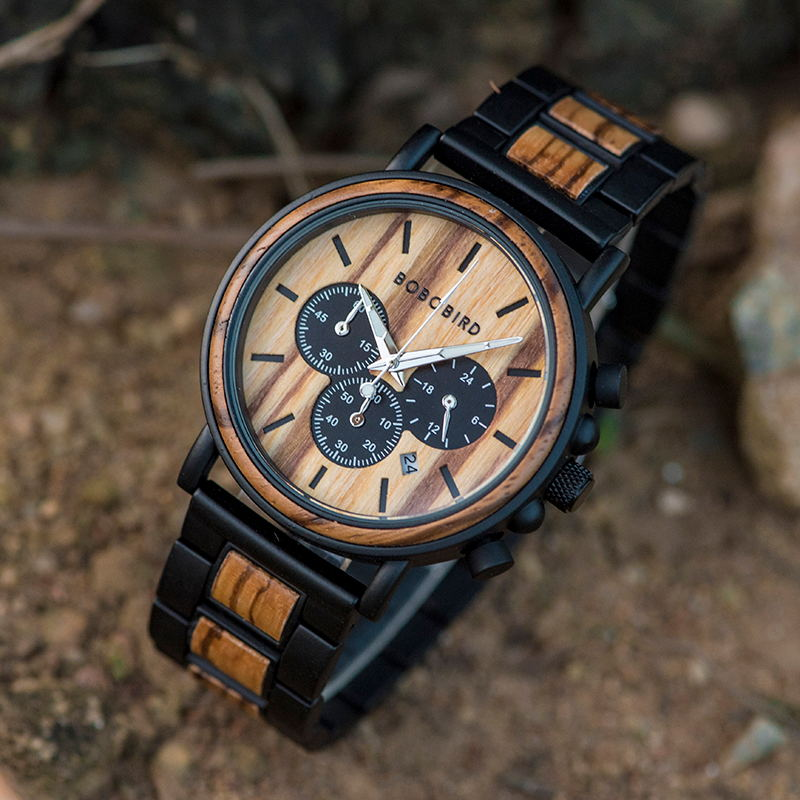 Watch Metal Chronograph Timepiece Quartz Wooden Custom Bobo Bird Luxury Men Relogio J-Q26 title=