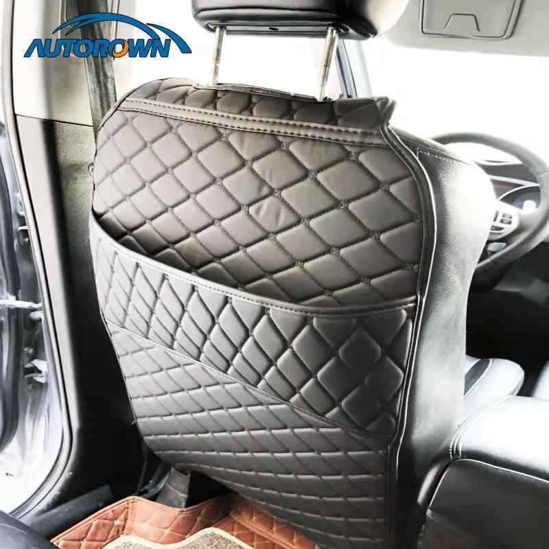AUTOROWN Car Seat Back Protector For Toyota Lada Kia Lexus PU Leather Car Seat Storage Bag Automobile Accessories Anti Kick Mat