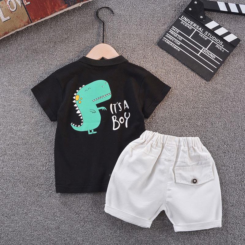 2020 new boys short sleeve clothing set Boy cotton lapel print T-shirt + pants 2 pieces Children clothes suit for 2-6 Y