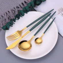 Fork-Set Dinnerware-Spoon Flatware Chopsticks Fruit Stainless-Steel Gold Green Kids 1