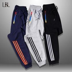 LBL мужские брюки в полоску для бега, осенние повседневные мужские спортивные штаны, спортивные длинные брюки, новые прямые брюки, мужская од...