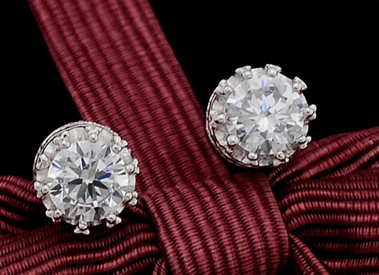 8MM Round Crown 2 Carat Cubic Zirconia Crystal Silver Stud Earrings For Women