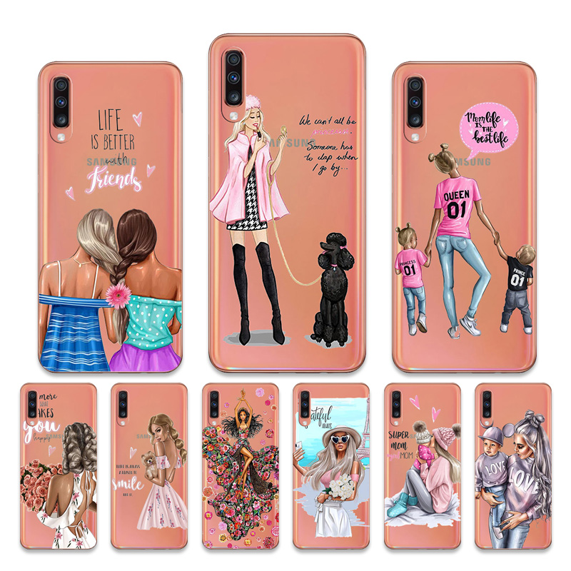 Baby Girl Fashion Mom Luxury Case For Samsung Galaxy A70 A60 A80 A7 A8 Plus A9 2018 A8 Star Cover Soft Transparent Capa Etui