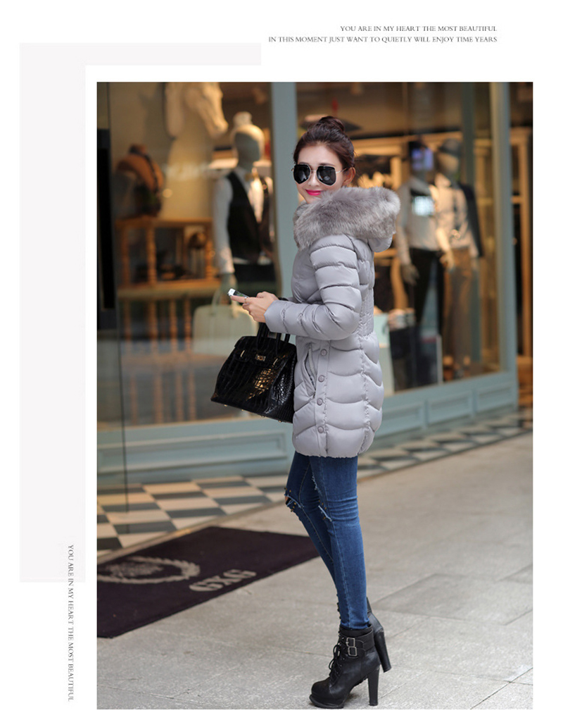 Winter Long Women Coats Parkas Slim Pleated Black Female Coat Outwear Fashion Disassembled Hooded Cotton Women Jackets MLD1271 6
