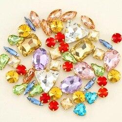 Набор золотых когтей, 50 штук/пакет, смешанные формы, прозрачные и желейные конфеты, AB, стеклянные кристаллы, пришитые Стразы, свадебные модел...