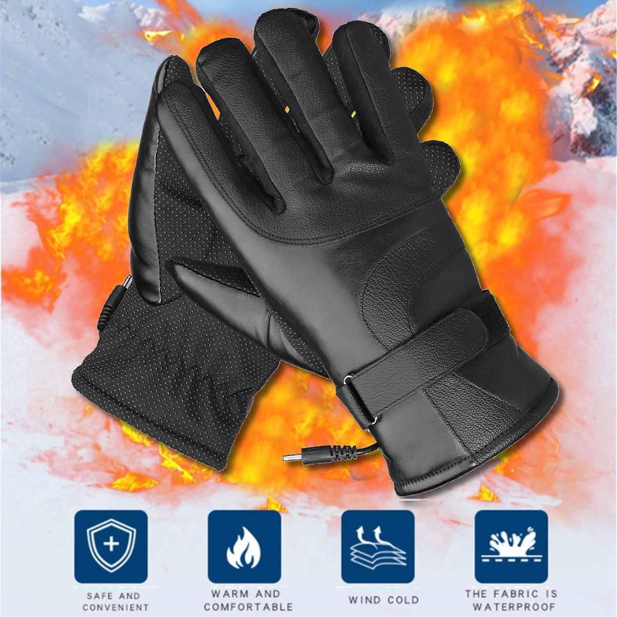 Перчатки с электрическим подогревом, зимние теплые термальные перчатки для велоспорта, мотоцикла, катания на лыжах, перчатки для спорта на открытом воздухе с функцией сенсорного экрана