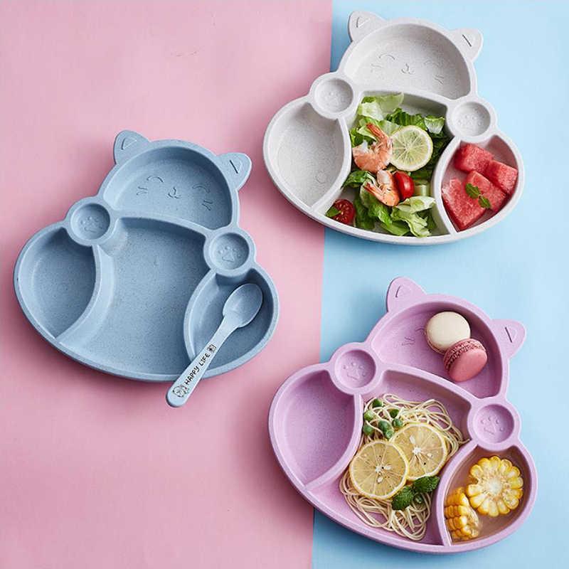 Cartoon Cute Wheat Straw Children Divided Toddler Plates Kids Tableware ILOE