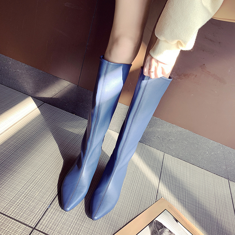 Designer Soft Leather Knee High Boots Women Pointy Toe Low Heels Winter Long Boots Flats Knight Boots