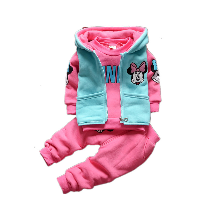 3pcs Kids Baby Girls Spring//Fall Minnie Mouse Hooded Vest+Tops+Pants Clothes Set