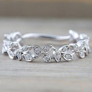 Модное изысканное белое циркониевое коктейльное кольцо с листом для невесты, обручальное кольцо, ювелирное изделие, подарки для влюбленных