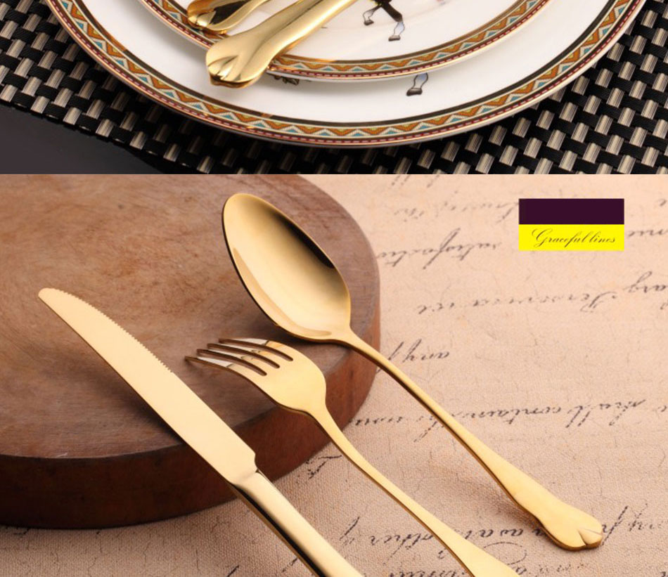 Luxury Gold Cutlery Set Stainless Steel Metal Dinnerware Set 3 Pieces Knife Fork Tableware Dining Dinner Western Food Kitchen (8)