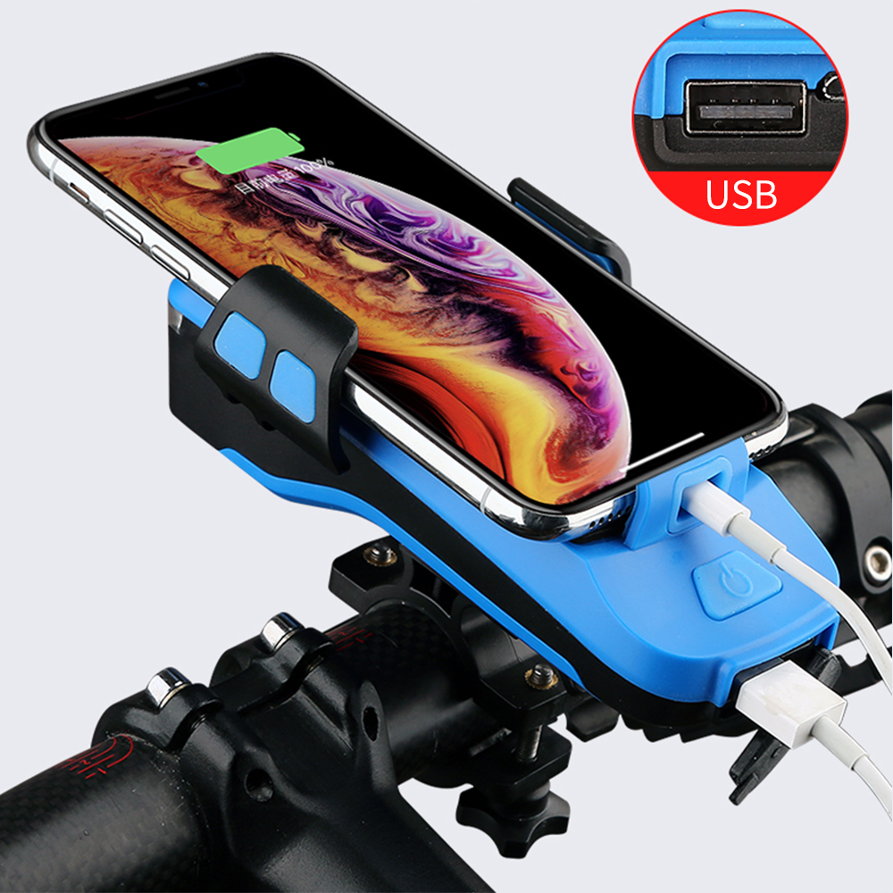 Electronics - 4 In 1 Bike Light Phone Holder Handlebar Stand with Power Bank Bicycle Lamp Bicycle Set USB Rechargeable Rear Light