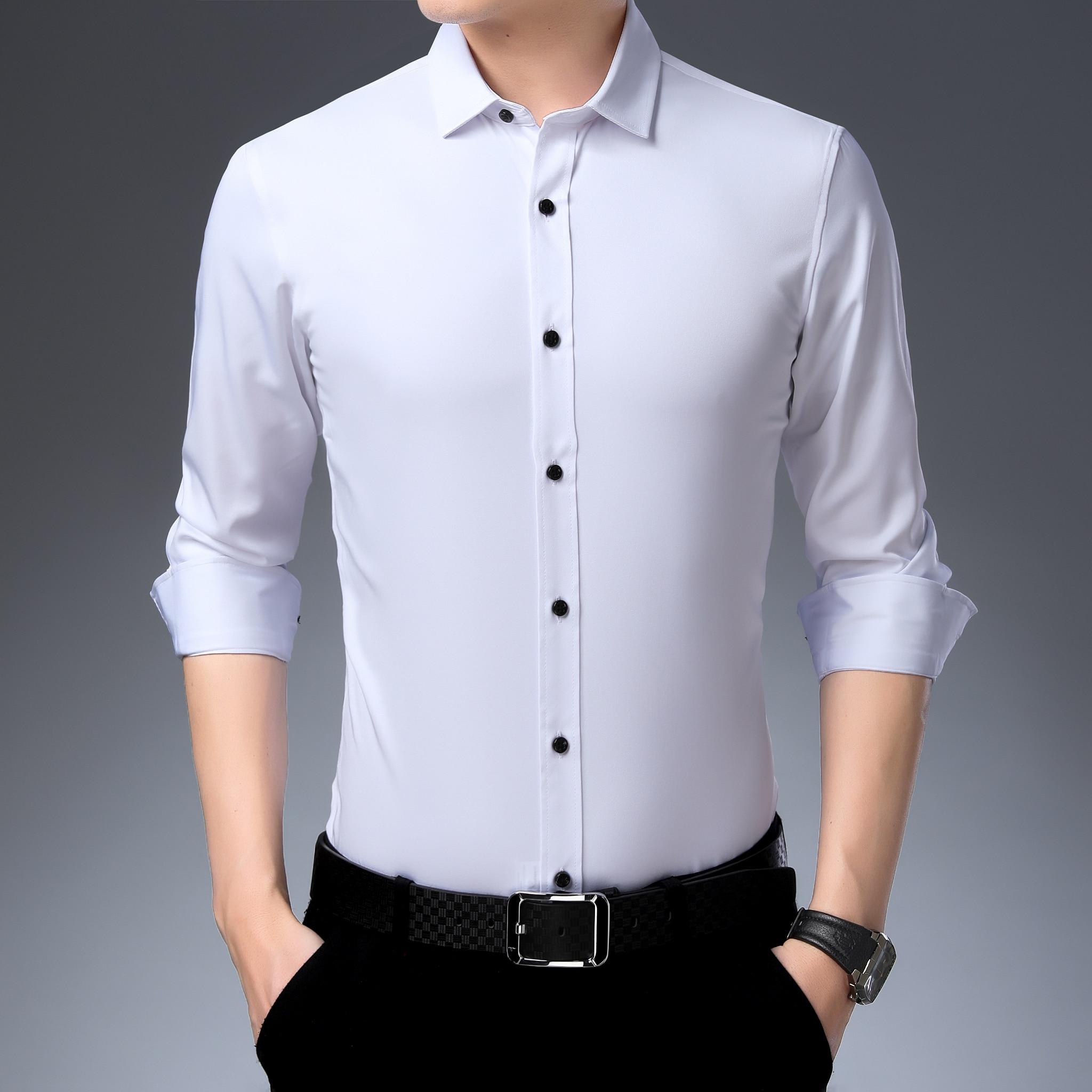 Manga Larga Camisa Bamb/ú Fibra Hombre Slim Fit Camisa El/ástica Formal Casual para Hombre
