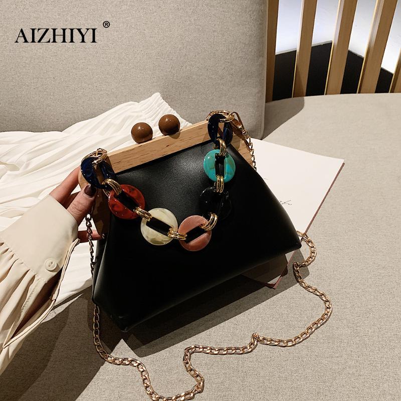 Retro Women Messenger Bag Wooden Clip PU Leather Acrylic Chain Handbags Female Fashion Large Capacity Shoulder Bags