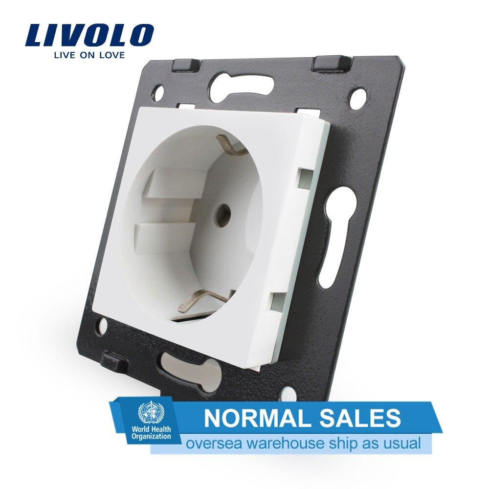 Livolo Разъем diy части, белые пластиковые материалы, стандарт ЕС, функциональный ключ для ЕС розетки, VL-C7-C1EU-11