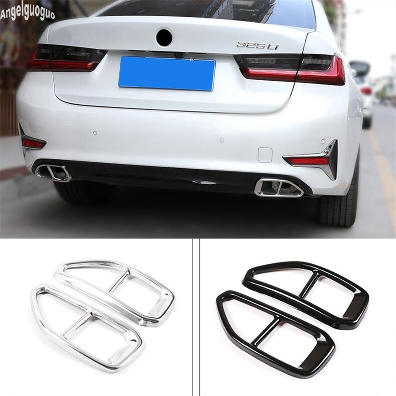2 upgrade 4 holes Stainless steel For BMW 3 series G20 2019-21 Car Rear Exhaust Tail Pipe Cover Trim Muffler Quality Accessories