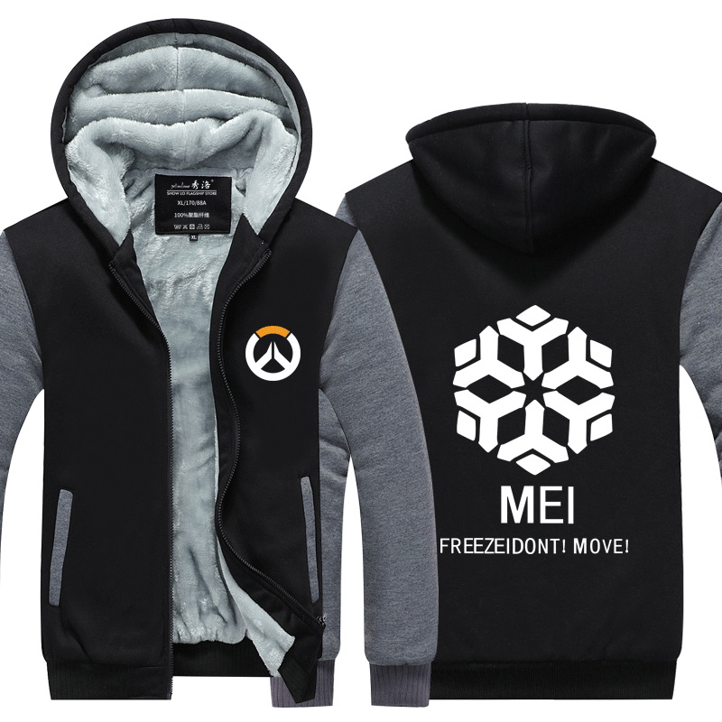 Overwatch OW Reaper Thicken Sweater Mercy Sweatshirt Unisex Hoodie Zipper Coat